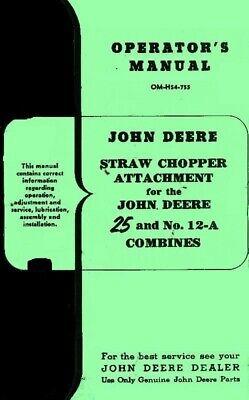 John Deere No. 25 Two 2 Row Push Corn Picker Model A G Tractor Operators Manual
