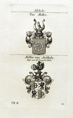 1824 2 Wappen Miller von Aichholz Kupferstich Tyroff