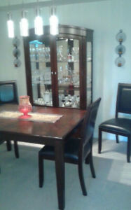Classic Diningroom Table,  4 Faux Leather Chairs & Tall Hutch