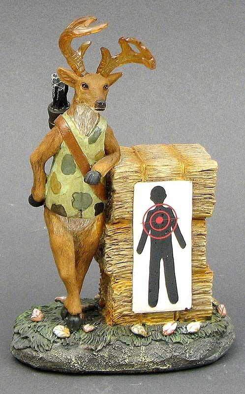 Comical Deer TARGET PRACTICE  Figurine Stone Resin Cabin Decor NIB