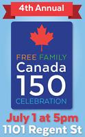 FREE FAMILY CANADA 150 CELEBRATION