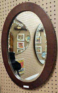 Vintage Wood oval mirror H22  x  W17 inches