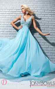 REDUCED!!! TONY BOWLS LA GALA SKY BLUE GOWN FOR SALE!!!