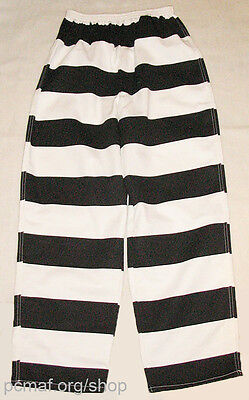 Black/White Prisoner/Convict/Inmate Striped Pants: Made in Montana USA by -