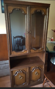 Armoire or hutch or display cabinet-medium wood color-$30