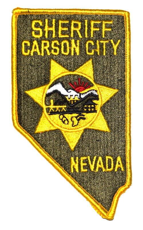 "CARSON CITY NEVADA NV Sheriff Police Patch – STATE SHAPE – EAGLE SUNRISE LG 6"" ~"