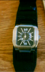 Next, Large Brushed Chrome Watch With D.D
