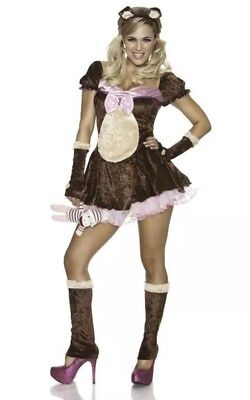 Beary Cute 4 Pc Costume Womens L-XL Size 10-14 Delicious Sexywear of NY - NIP - Cute Woman Costumes