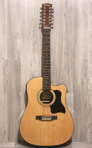 12 string acoustic electric guitar built in tuner brand new