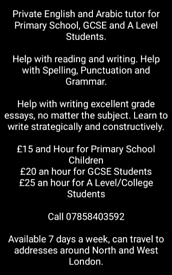 Children's and Women's English and Arabic Tuition Service