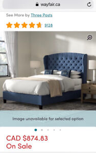 Navy blue panel bed