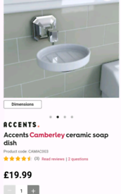 New Accents Camberley Ceramic Soap Dish (Victoria Plum)