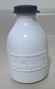 Make My Day Retro Milk Glass Milk Bottle, Black Top