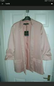 Next women's sz18 salmon/coral silkfeel lined jacket 3/4 sleeve NEW