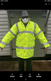 HI VIS YELLOW COAT SCOTCHLITE OUTER REFLECTIVE MATERIAL NEVER WORN