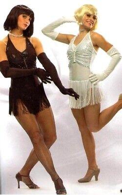 Chicago Lights BLACK Dance Costume Flapper Dress w Gloves Clearance Child Large