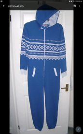 """Let it dry"" mens sz S blue poly/cotton hooded onesie (Peterlee)"