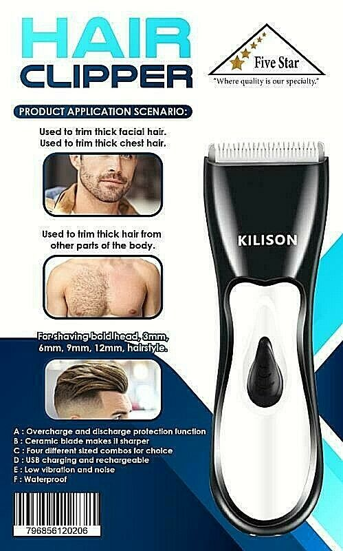 Electric Hair Clipper Cordless Beard Clippers Cutter Barber Portable White Black Clippers & Trimmers