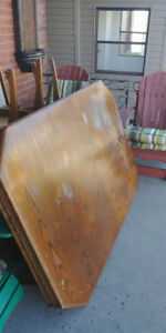 Vintage wooden dining room table and 6 chairs,