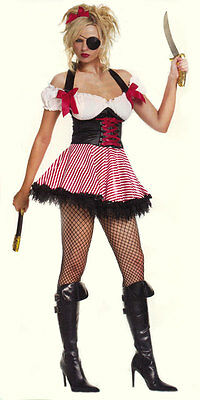 Cheap Leg Avenue Red/Black Pirate Wench Costume with Eye Patch Dagger C212BM](Cheap Womens Pirate Costume)