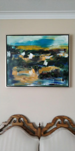 Signed/titled Andrew Plum signed abstract landscape painting