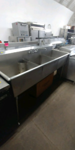 Commercial stainless steel sinks, 3 bay, 2 bay, bar sink.