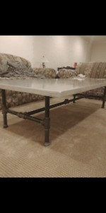"""Concrete coffee table. 1"""" threaded pipe stand"""