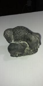 OLD HAND MADE SOAPSTONE BISON WITH YOUNG ONE WELLAND