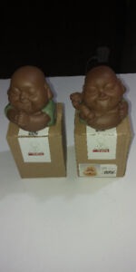 2 DIFFERENT BUDDHA POTTERY STATUES WITH BOXES
