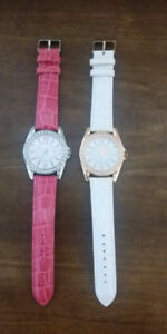 Two Genuine Leather Watches - Pink & White - BRAND NEW