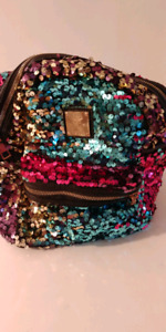 Girls sequin backpack different colours.