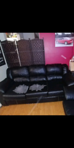 Leather couch, loveseat, ottoman and couch covers
