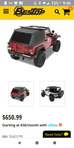 Jeep Wrangler 2 Dr Soft Top, half doors, and mirrors