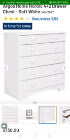 Nordic white 6 Drawers chest only £80. Real Bargains Clearance Outlet
