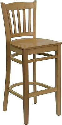 Natural Wood Finished Vertical Slat Back Restaurant Bar Stool With Wood Seat