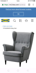 Ikea Strandmon wing chair grey mint condition