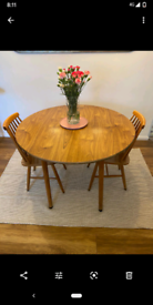 Vintage Drop Leaf Round Dining Table and 2 Ercol Style Chairs