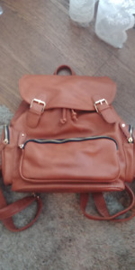 Harlow Brown faux leather backpack