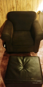 Brown chair and foot stool