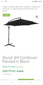 Sturdi 3m round cantilever garden parasol black (BNIB)
