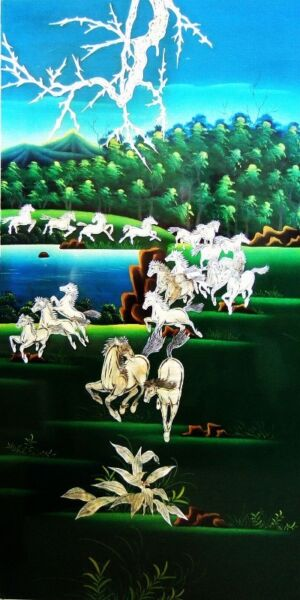 """VinTaGe """"HaPPy WiLD  HorSeS"""" MuRaL (PainTing /Art/Portrait )(MoTher Of PearL on MahaGoNy)  $788"""