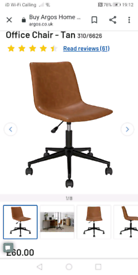 Brown tan Office Chair £40. Real Bargains Clearance Outlet Leicester C
