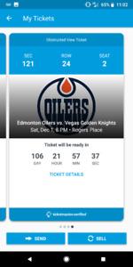 Edmonton Oilers vs VGK December 1st at $175 each
