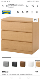 Ikea malm oak chest of 3 drawers vgc