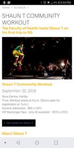 Shaun T Community Workout Ticket