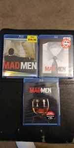Mad Men Seasons 1, 2 and 3. Brand new on blu-ray.