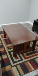 WOODEN COFFEE TABLE W/GLASS TOP AND END TABLES