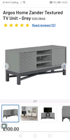 Zander textured Grey TV stand wide only £70. Real Bargains Clearance O