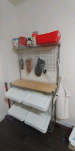 kitchen rack/shelf for storage. $150 with bins
