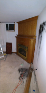Corner fireplace mantle / surround